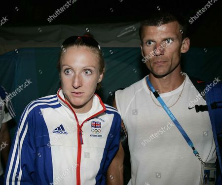 Paula Radcliffe With Husband Gary Lough After She Dropped Out Of The Womens Marathon Event At Teh 2004 Athens Olympic Games.