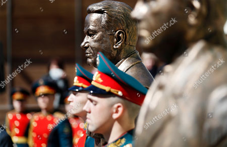 Stock Photo of Russian soldiers guard near the bronze bust of the first President of the Russian Federation Boris Yeltsin during the unveiling ceremony on Alley of Rulers in Moscow, Russia, 23 April 2018. Boris Yeltsin join statues of the Soviet leaders Vladimir Lenin, Joseph Stalin, Nikita Khrushchev, Leonid Brezhnev, Yury Andropov, Konstantin Chernenko and Mikhail Gorbachev in the Alley of Rulers in the Russian Military History Society.