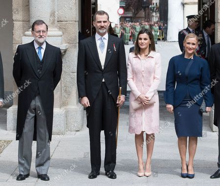 President of Spain Mariano Rajoy, King Felipe VI, Queen Letizia Ortiz, president of the community of Madrid Cristina Cifuentes