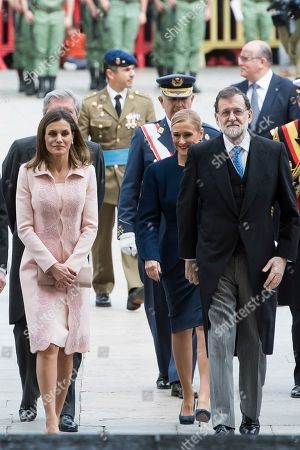 Queen Letizia Ortiz, president of the community of Madrid Cristina Cifuentes and President of Spain Mariano Rajoy