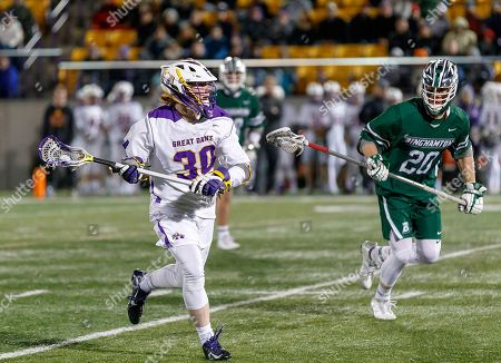 Albany, NY, U.S. - Chris Ryan (#30) on attack as UAlbany Men's Lacrosse defeats Binghamton 18-7 on Apr. 20 at Casey Stadium