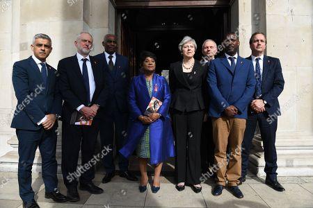 Mayor of London Sadiq Khan, Labour leader Jeremy Corbyn, Neville Lawrence, Doreen Lawrence, Prime Minister Theresa May, Cabinet Office minister David Lidington, Stuart Lawrence and Minister for Policing Nick Hurd