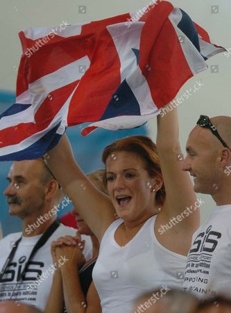 Cath Cochrane Bradley Wiggins' Fiancee Cheers For Bradley And The British Team During The Mens Madison Cycling Final.