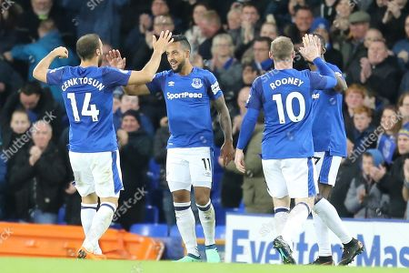 Everton players celebrate a goal by 11 Theo Walcott for Everton during the Premier League match between Everton and Newcastle United at Goodison Park, Liverpool. Picture by Graham Holt