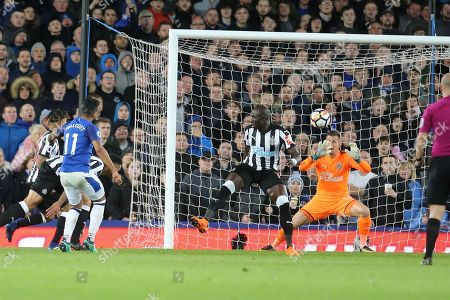 11 Theo Walcott scores for Everton during the Premier League match between Everton and Newcastle United at Goodison Park, Liverpool. Picture by Graham Holt