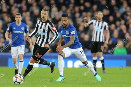 20 Florian Lejeune for Newcastle United and 11 Theo Walcott for Everton during the Premier League match between Everton and Newcastle United at Goodison Park, Liverpool. Picture by Graham Holt