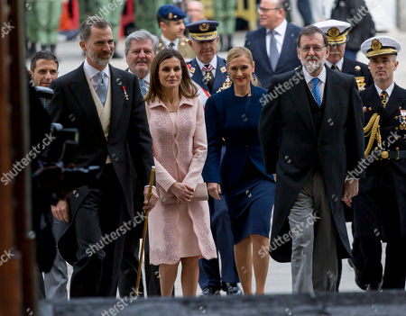 Stock Photo of King Felipe VI of Spain, Queen Letizia Ortiz of Spain, Cristina Cifuentes, Mariano Rajoy