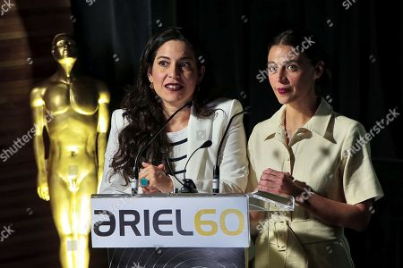 Mexican Actresses Tiare Scanda (L) and Ilse Salas (R) speak during a press conference to present the Ariel awards nominees in Mexico City, Mexico, 23 April 2018. Ernesto Contreras' 'Sueno en otro idioma' heads the nominations of the 60th edition of the gala to be celebrated next 05 July at the Belle Arts Palace at the Mexican Capital.