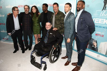 "Allen Covert, Robert Smigel, Allison Strong, Chris Rock, Jim Barone, Adam Sandler, Roland Buck III, Chuck Nice. Allen Covert, from left, Robert Smigel, Allison Strong, Chris Rock, Jim Barone, Adam Sandler, Roland Buck III and Chuck Nice attend the premiere of Netflix's ""The Week Of"" at AMC Loews Lincoln Square, in New York"