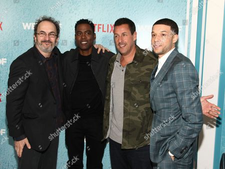 "Robert Smigel, Chris Rock, Adam Sandler, Roland Buck III. From left to right, Robert Smigel, Chris Rock, Adam Sandler and Roland Buck III attend the premiere of Netflix's ""The Week Of"" at AMC Loews Lincoln Square, in New York"