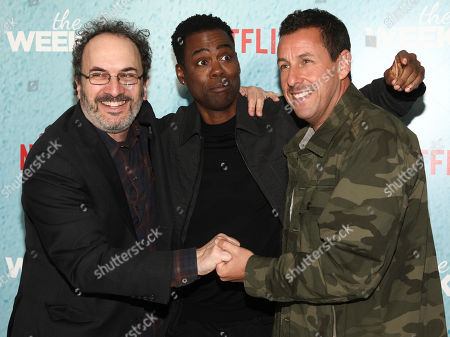 """Robert Smigel, Chris Rock, Adam Sandler. From left to right, Robert Smigel, Chris Rock and Adam Sandler attend the premiere of Netflix's """"The Week Of"""" at AMC Loews Lincoln Square, in New York"""