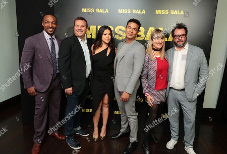 Anthony Mackie, Kevin Misher, producer, Gina Rodriguez, Ismael Cruz Cordova, Catherine Hardwicke, director, and Pablo Cruz, producer, at the CinemaCon Photo Call for Columbia Pictures' MISS BALA #MissBala