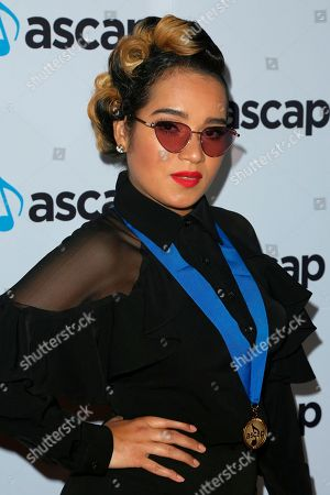 Stock Photo of Lumidee, Lumidee Cedeno. Lumidee arrives at the 2018 ASCAP Pop Music Awards at The Beverly Hilton, in Beverly Hills, Calif