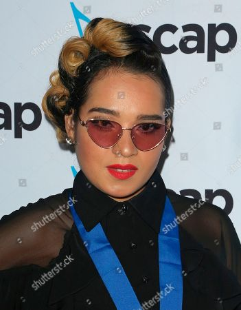 Stock Image of Lumidee, Lumidee Cedeno. Lumidee arrives at the 2018 ASCAP Pop Music Awards at The Beverly Hilton, in Beverly Hills, Calif
