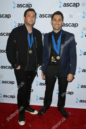 Stock Picture of Alex Schwartz, Joe Khajadourian. Alex Schwartz, left, and Joe Khajadourian both members of The Futuristics arrive at the 2018 ASCAP Pop Music Awards at The Beverly Hilton, in Beverly Hills, Calif