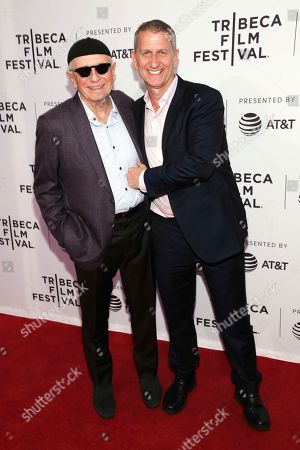 "Terrence McNally, Tom Kirdahy. Playwright Terrence McNally, left, and Tom Kirdahy attend a screening of ""Every Act of Life"" at the SVA Theatre during the 2018 Tribeca Film Festival, in New York"