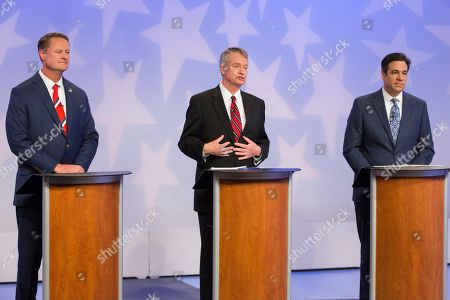 Republican Boise businessman Tommy Ahlquist, from left, Lt. Gov. Brad Little and Rep. Raul Labrador, R-Idaho, participate in a debate at the studios of Idaho Public Television in Boise, Idaho