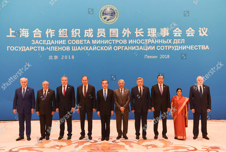 Editorial photo of SCO foreign ministers and officials meeting in Beijing, China - 24 Apr 2018