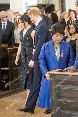 Prince Harry and Meghan Markle with Doreen Lawrence
