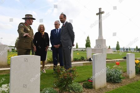 Australian Prime Minister Malcolm Turnbull (2-R) and his wife Lucy Turnbull (2-L) together with French Prime Minister Edouard Philippe (R) and Australian Colonel Scott Clingan (L) tour the Australian National Memorial at Villers-Bretonneux, France, 24 April 2018. Turnbull is in France to commemorate ANZAC Day.