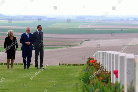 Australian Prime Minister Malcolm Turnbull (C), his wife Lucy Turnbull (L) and French Prime Minister Edouard Philippe tour the Australian National Memorial at Villers-Bretonneux, France, 24 April 2018. Turnbull is in France to commemorate ANZAC Day.