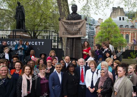 Editorial image of Millicent Fawcett Staue unveiled, London, UK-24 Apr 2018