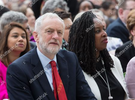 Labour Leader, Jeremy Corbyn, with Dawn Butler MP  Unveiling of Suffragist Leader Millicent Fawcett in Parliament Square. The Statue has been created by Turner-prize winning artist, Gillian Wearing. Following Caroline Criado's Perez's campaign the mayor of London, Commissioned Gillian Wearing to create the statue. It is the first female statue to adorn Parliament square. The ceremony was attended by The Prime Minister, Theresa may, Sadiq Khan, Mayor of London, and many artists and MPs.