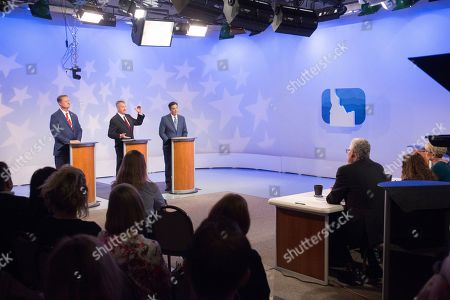 Tommy Ahlquist, Brad Little, Raul Labrador. From left, republican Boise businessman Tommy Ahlquist, Lt. Gov. Brad Little and Rep. Raul Labrador, R-Idaho, during a debate at the studios of Idaho Public Television in Boise, Idaho