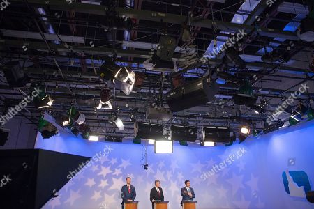 Stock Picture of Tommy Ahlquist, Brad Little, Raul Labrador. From left, republican Boise businessman Tommy Ahlquist, Lt. Gov. Brad Little and Rep. Raul Labrador, R-Idaho, during a debate at the studios of Idaho Public Television in Boise, Idaho