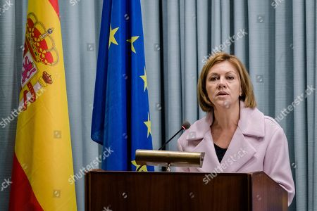 On, Spain's Defense Minister Maria Dolores Cospedal Garcia speaks at a military base in Rota, southern Spain. Spain looks set to take charge of the European Union's anti-piracy operation off Somalia despite a challenge from Italy, as EU countries continue to pick over the spoils left by Britain's departure from the bloc next year
