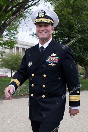 US Navy Rear Admiral Ronny Jackson, US President Donald J. Trump's nominee to be Secretary of Veteran Affairs, walks on Capitol Hill following a meeting in the office of Republican Senator from Kansas Jerry Moran, in Washington, DC, USA, 24 April 2018. The Senate Veterans Affairs Committee has postponed Jackson's confirmation hearing amid allegations involving his behavior as a White House physician. If confirmed by the Senate, Jackson would fill the vacancy left by the exit of David Shulkin.