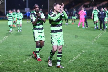 Forest Green Rovers Isaiah Osbourne(34) and Forest Green Rovers Lee Collins(5) applaud the fans at the end of the match during the EFL Sky Bet League 2 match between Yeovil Town and Forest Green Rovers at Huish Park, Yeovil. Picture by Shane Healey