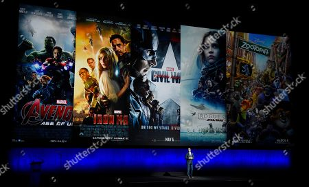 Dave Hollis, president of theatrical distribution for Walt Disney Studios Motion Pictures, addresses the audience during Disney's presentation at CinemaCon 2018, the official convention of the National Association of Theatre Owners, at Caesars Palace, in Las Vegas