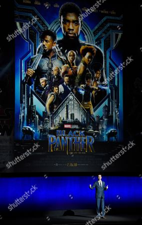 """Dave Hollis, president of theatrical distribution for Walt Disney Studios Motion Pictures, talks about the success of their film """"Black Panther"""" during Disney's presentation at CinemaCon 2018, the official convention of the National Association of Theatre Owners, at Caesars Palace, in Las Vegas"""