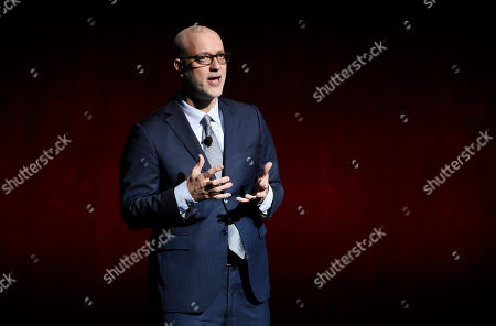 John Fithian, president and CEO of the National Association of Theatre Owners, addresses the audience at CinemaCon 2018, the official convention of the National Association of Theatre Owners, at Caesars Palace, in Las Vegas