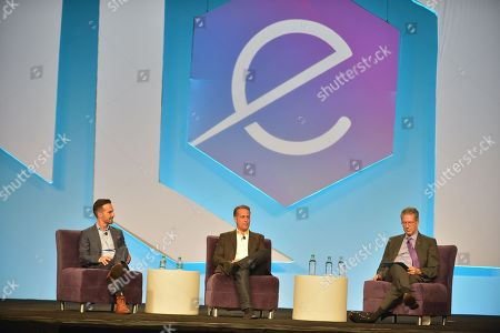 CEO of M8, John Santiago, VP of Platform Data Xu Peter Kosmala and Executive Vice President for Academic Affairs & Provost University of Miami Jeffrey Duerk attend eMerge Americas 2018 The Impact of AI and Big Data on the Marketing Mix panel at Miami Beach Convention Center