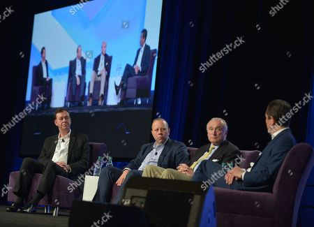 Stock Image of President Cyxtera Federal Group Gregory Touhill, Chief Information Security Officer Cyxtera Technologies Leo Taddeo, Executive Chairman Teneo Risk Bill Bratton and Co-President Teneo Intelligence Kevin Kajiwara attend eMerge Americas 2018 Cybercrime, Cyberwarfare, and Increased Security Threats: Protecting Our Nation and the Globe From Emerging Risks panel at Miami Beach Convention Center