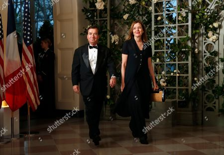 Edward Royce, Maria Royce. Rep. Edward Royce, R-Calif., and Maria Royce arrive for a State Dinner with French President Emmanuel Macron and President Donald Trump at the White House, in Washington