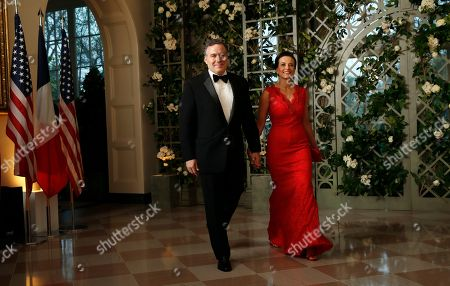 Dina Powell, David McCormick. Dina Powell and David McCormick arrive for a State Dinner with French President Emmanuel Macron and President Donald Trump at the White House, in Washington