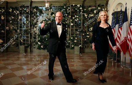 Stock Image of Lawrence Kudlow, Judith Kudlow. National Economic Council director Lawrence Kudlow and Judith Kudlow arrive for a State Dinner with French President Emmanuel Macron and President Donald Trump at the White House, in Washington