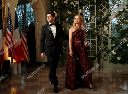 Paul Ryan, Janna Ryan. House Speaker Paul Ryan of Wis., and his wife Janna Ryan arrive for a State Dinner with French President Emmanuel Macron and President Donald Trump at the White House, in Washington