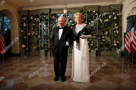 Stephen Schwarzman, Christine Schwarzman. Stephen Schwarzman and Christine Schwarzman arrive for a State Dinner with French President Emmanuel Macron and President Donald Trump at the White House, in Washington