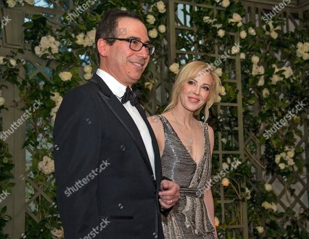 United States Secretary of the Treasury Steven Mnuchin and Ms. Louise Linton arrive for the State Dinner honoring Dinner honoring President Emmanuel Macron of the French Republic and Mrs. Brigitte Macron at the White House in Washington, DC.