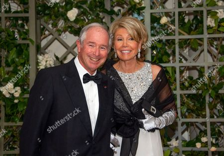 Stephen Schwarzman and Mrs. Christine Schwarzman arrive for the State Dinner honoring Dinner honoring President Emmanuel Macron of the French Republic and Mrs. Brigitte Macron at the White House in Washington, DC.