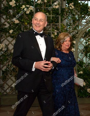 White House Chief of Staff John F. Kelly and Mrs. Karen Kelly arrive for the State Dinner honoring Dinner honoring President Emmanuel Macron of the French Republic and Mrs. Brigitte Macron at the White House in Washington, DC.