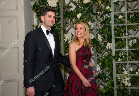 The Speaker of the United States House of Representatives Paul Ryan (Republican of Wisconsin), and Mrs. Janna Ryan arrive for the State Dinner honoring Dinner honoring President Emmanuel Macron of the French Republic and Mrs. Brigitte Macron at the White House in Washington, DC.