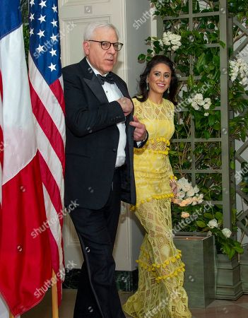 David M. Rubenstein and Ms. Gabrielle Rubenstein arrive for the State Dinner honoring Dinner honoring President Emmanuel Macron of the French Republic and Mrs. Brigitte Macron at the White House in Washington, DC.