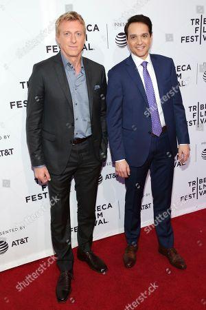 "Billy Zabka, Ralph Macchio. Actors Billy Zabka, left, and Ralph Macchio attend a screening of ""Tribeca: TV: Cobra Kai"" at the SVA Theatre during the 2018 Tribeca Film Festival, in New York"