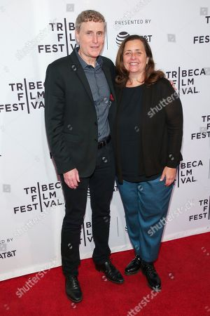 """Jeff Frost, Susanne Daniels. President, Sony Pictures Television Studios Jeff Frost, left, and global head of original content, YouTube Susanne Daniels attend a screening of """"Tribeca: TV: Cobra Kai"""" at the SVA Theatre during the 2018 Tribeca Film Festival, in New York"""