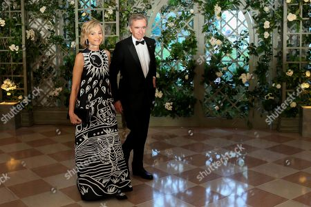 Stock Picture of Bernard Arnault, Helene Arnault at the White House to attend a state dinner, Washington DC